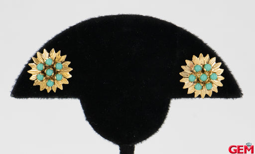 Vintage Floral Petal Motif 18k 750 Yellow Gold Turquoise Stud Earrings