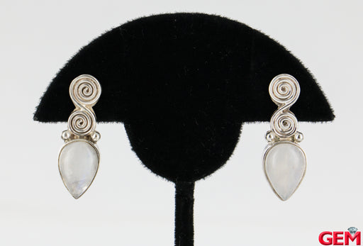 Sajen 925 Sterling Silver Pear Moonstone Infinity Drop Earrings - Pre-Owned for sale at Gem Pawn