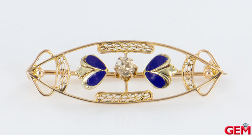 Antique Solid 14k 585 Yellow Gold Enamel Old Euro Diamond Lapel Pin Brooch - Pre-Owned for sale at Gem Pawn