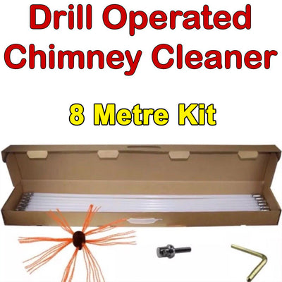 8 Meter Flexible Rod Drill Operated Chimney Cleaning Brush Kit