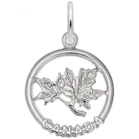 Sterling Canada Maple Leaf Ring Pendant