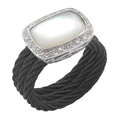 CHARRIOL DIAMOND & MOTHER OF PEARL RING