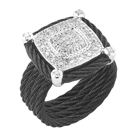 CHARRIOL DIAMOND BLACK CABLE RING