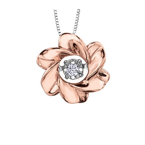 ROSE GOLD FLORAL PULSE MAPLE LEAF DIAMOND NECKLACE