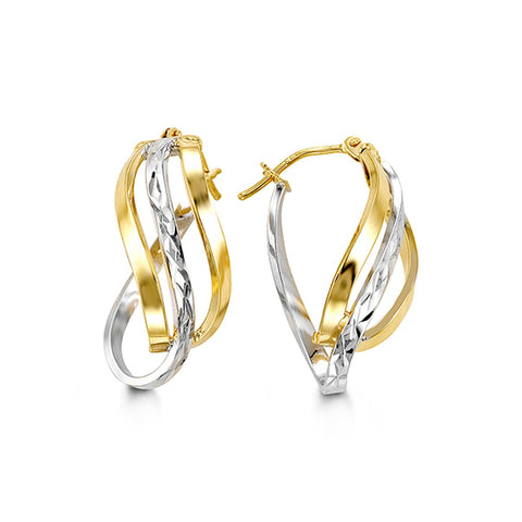 Bella Collection - Two-Tone Gold Twist Hoop Earrings