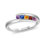 T1015 Family Ring 3-7 Stones - Silver, White, Yellow, or Rose Gold