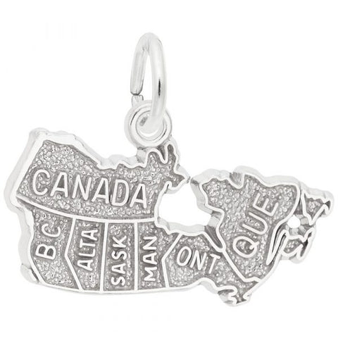 Sterling Silver Canada Map Pendant