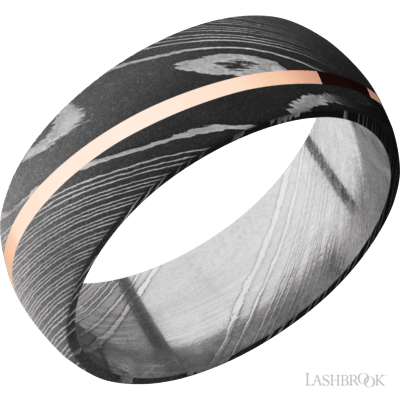 LASHBROOK - Damascus Steel w/14kt Rose Gold Inlay