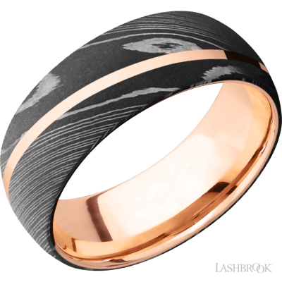 LASHBROOK - Damascus Steel w/14kt Rose Gold Inlay & Sleeve