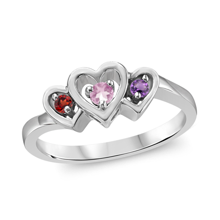 T1009 Family Ring 3 Stones - Silver, White, Yellow, or Rose Gold