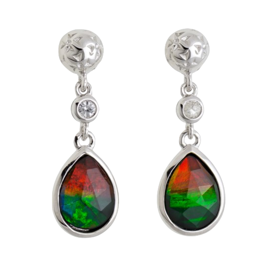Sterling Silver Teardrop Sapphire Emily Earrings by Korite Ammolite