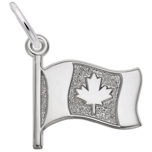 Sterling Silver Waving Canadian Flag Pendant