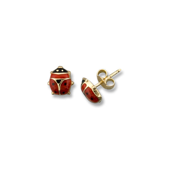 10kt Yellow Gold Ladybug Baby Stud Earrings