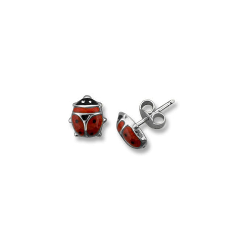 10kt White Gold Ladybug Baby Stud Earrings