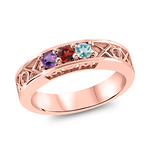 T1007 Family Ring 3-7 Stones - Silver, White, Yellow, or Rose Gold