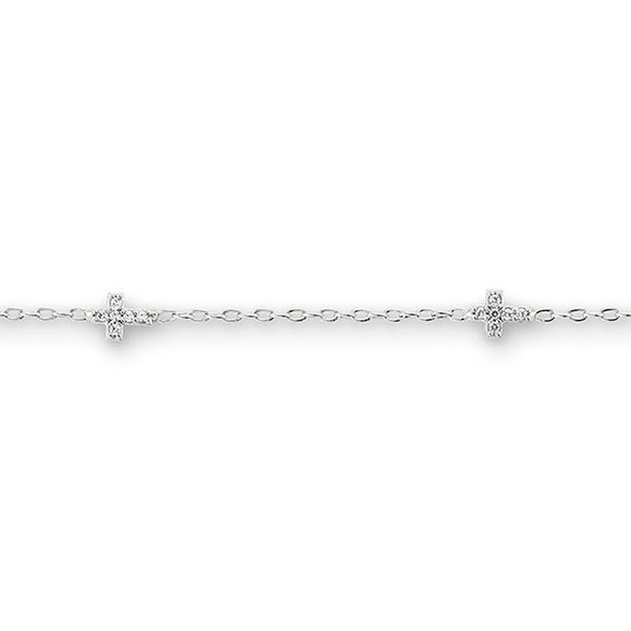 10kt White Gold CZ Cross Baby Bracelet