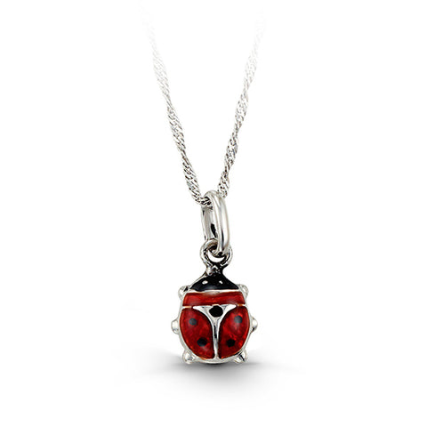 10kt White Gold Ladybug Baby Necklace