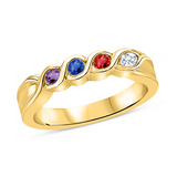 T1016 Family Ring 3-7 Stones - Silver, White, Yellow, or Rose Gold