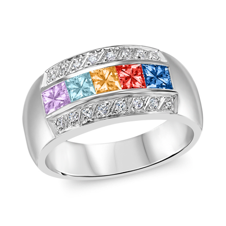 T1014 Family Ring 3-7 Stones - Silver, White, Yellow, or Rose Gold