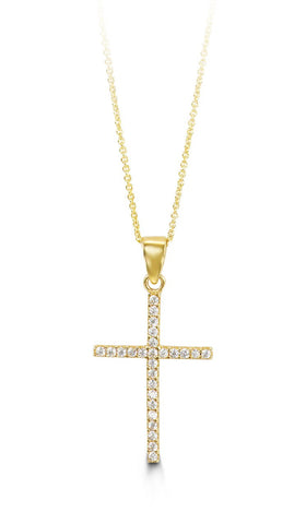 Bella Collection - CZ Yellow Gold Cross