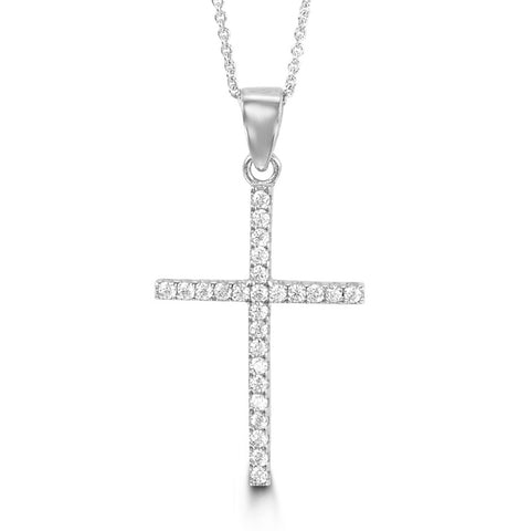 Bella Collection - CZ White Gold Cross