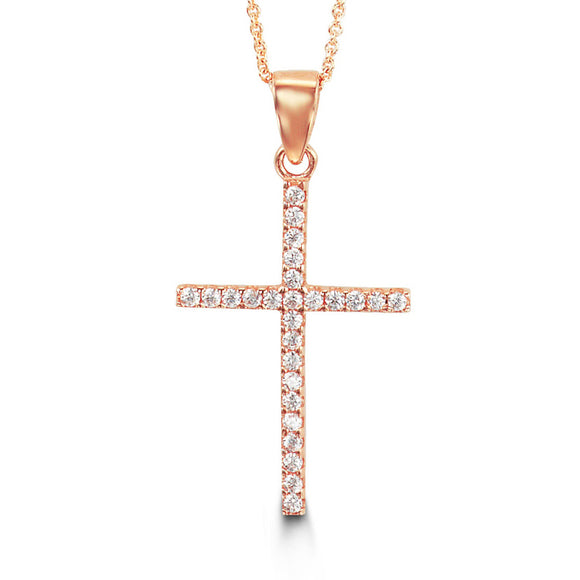Bella Collection - CZ Rose Gold Cross