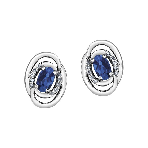 White Gold Sapphire & Diamond Earrings