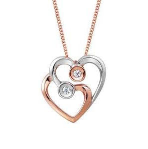 VALENTINES SPECIAL 10KT ROSE & WHITE GOLD DIAMOND DOUBLE HEART NECKLACE