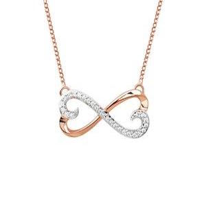 VALENTINES SPECIAL 10KT ROSE GOLD DIAMOND DOUBLE HEART NECKLACE