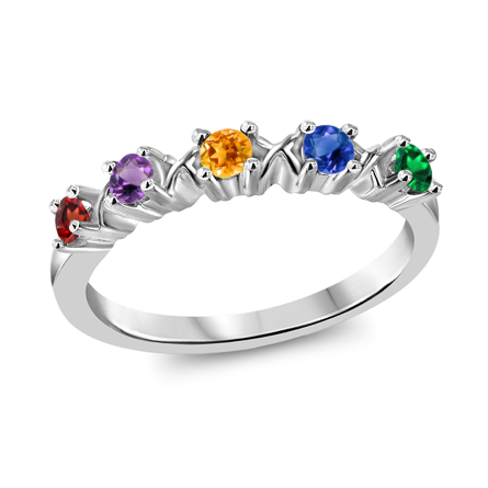 T1017 Family Ring 3-7 Stones - Silver, White, Yellow, or Rose Gold