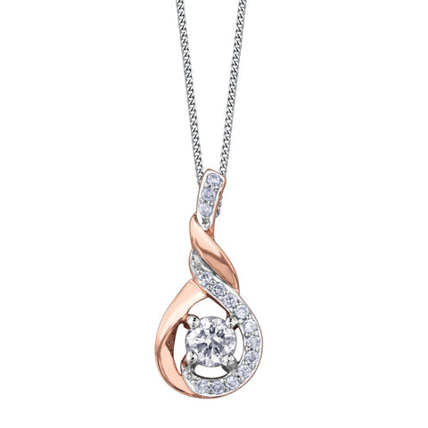 SWIRL DROP MAPLE LEAF DIAMONDS PENDENT
