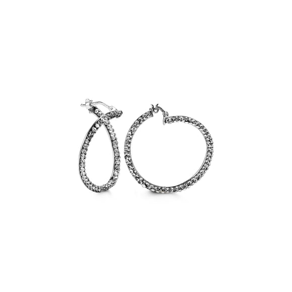Bella Collection - White Gold CZ Hoop Earrings