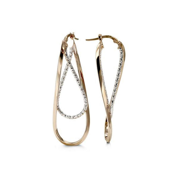 Bella Collection - Two-tone Hoop Earrings