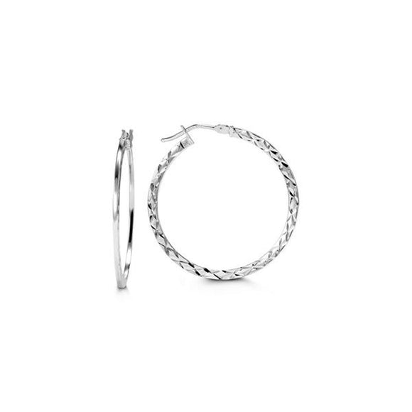Bella Collection - White Gold Hoop Earrings