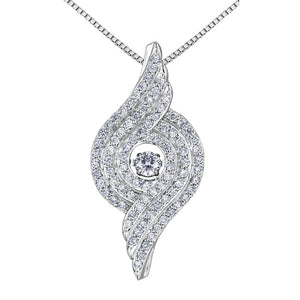 WHITE GOLD DIAMOND PULSE SWIRL PENDENT