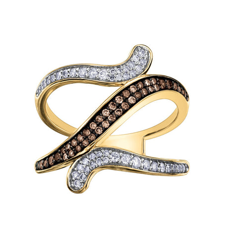 CHOCOLATE DIAMOND SWIRL RING