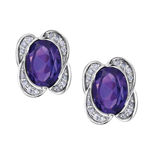 10kt White Gold Amethyst & Diamond Earrings