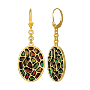 Amia Gold Tone Sterling Silver Earrings by Korite Ammolite