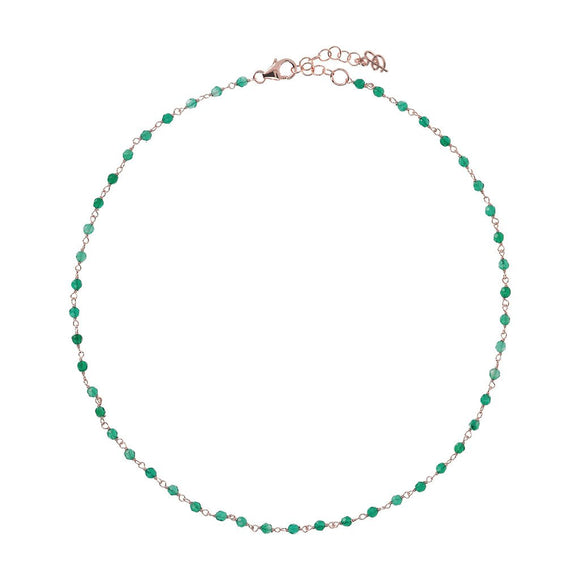 Bronzallure - Green Agate Amorette Necklace
