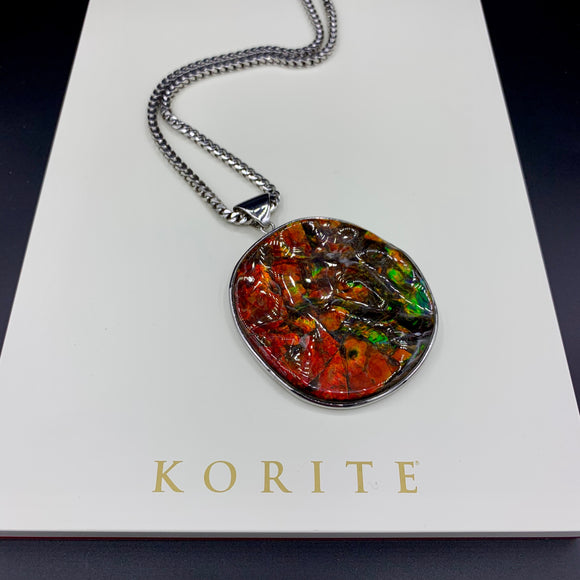 KORITE Ammolite Necklace, Sterling Silver
