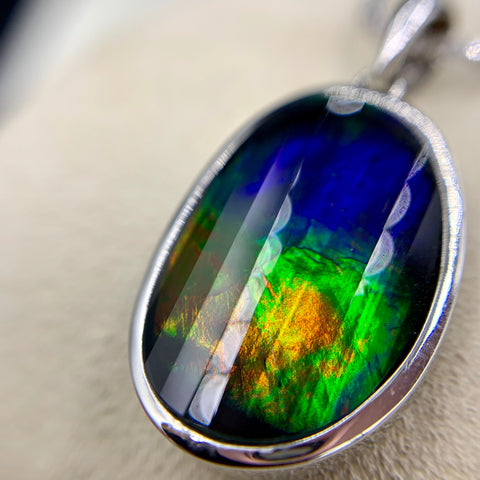 KORITE Ammolite Necklace, 14kt White Gold