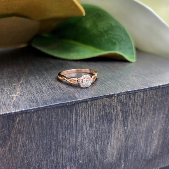 Promise Rings - Rose Gold Halo Ring