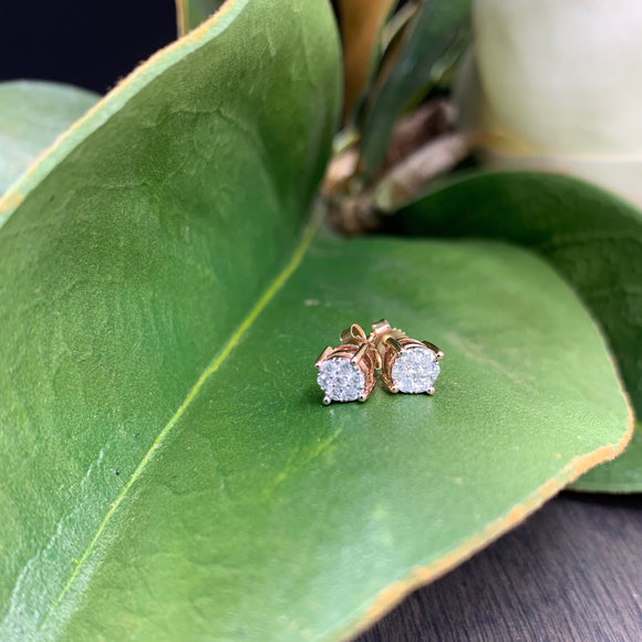 .25ct Rose Gold Diamond Stud Earrings