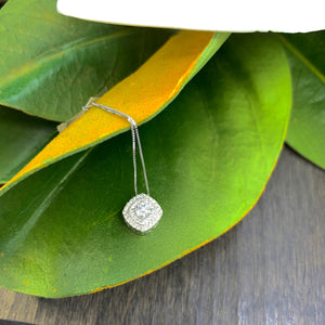 .50CT WHITE GOLD DIAMOND DOUBLE HALO NECKLACE