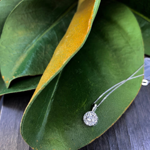 .25CT WHITE GOLD DIAMOND HALO NECKLACE