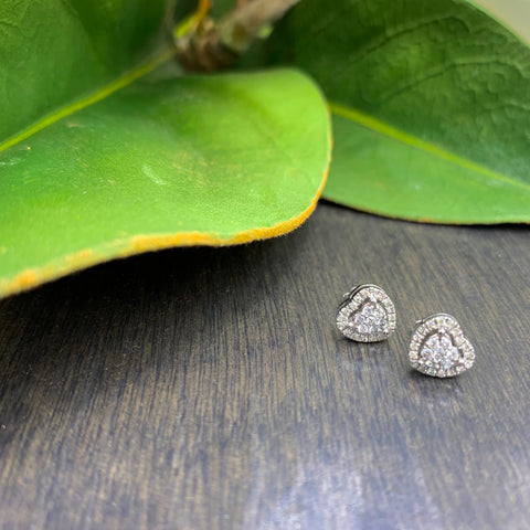 .22ct White Gold Diamond Heart Stud Earrings