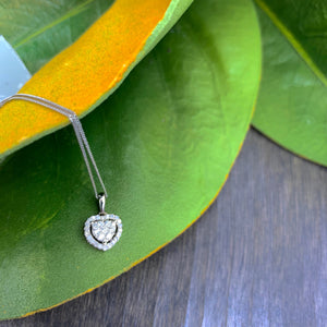 .22ct White Gold Diamond Heart Necklace