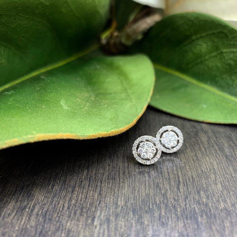 .50ct White Gold Diamond Halo Stud Earrings