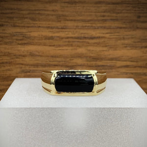 Mens Yellow Gold Onyx Ring