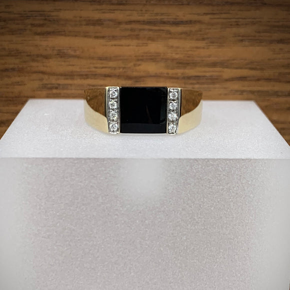 Mens Yellow Gold Onyx + Diamond Ring